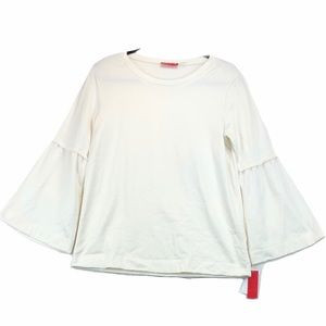 NWT Josie Natori White Bell Sleeve Top